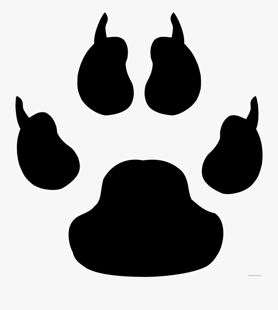 Black And White Paw Print Animal Free Black White Clipart - Cheetah Paw Print Clipart, Transparent Clipart