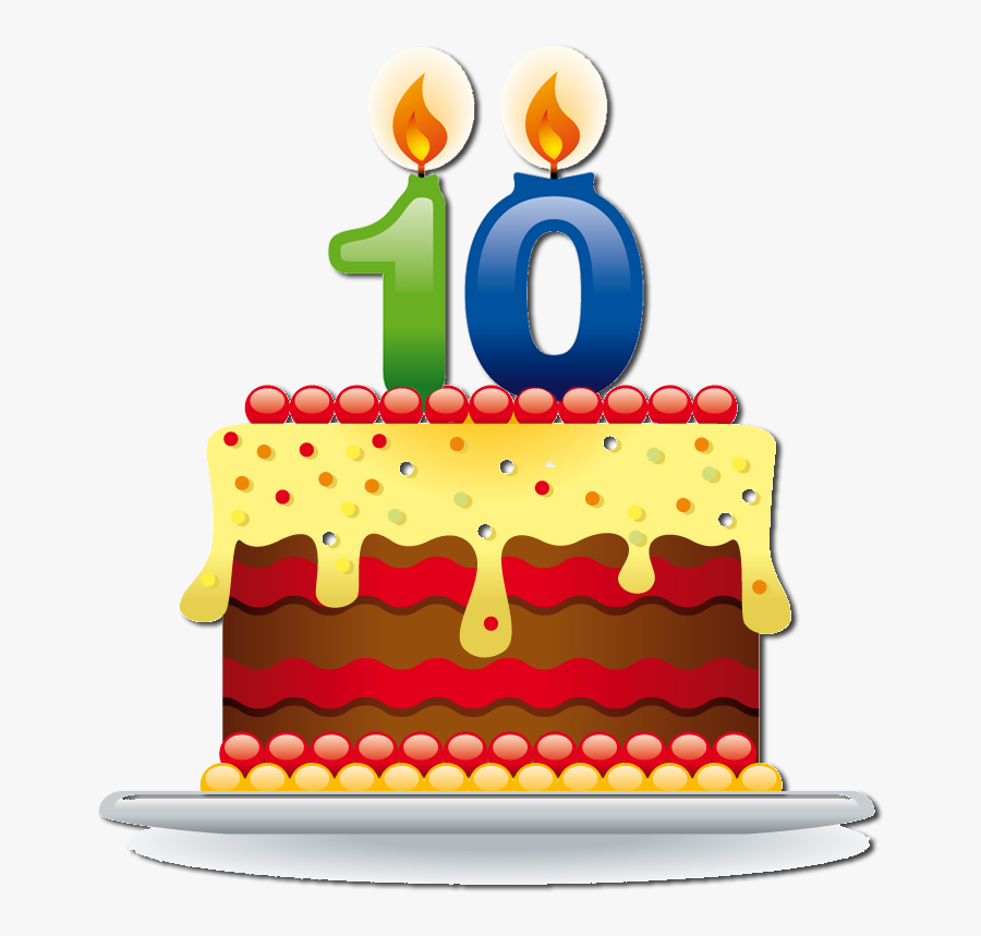 Happy Birthday - 10th Birthday Cake Png, Transparent Clipart
