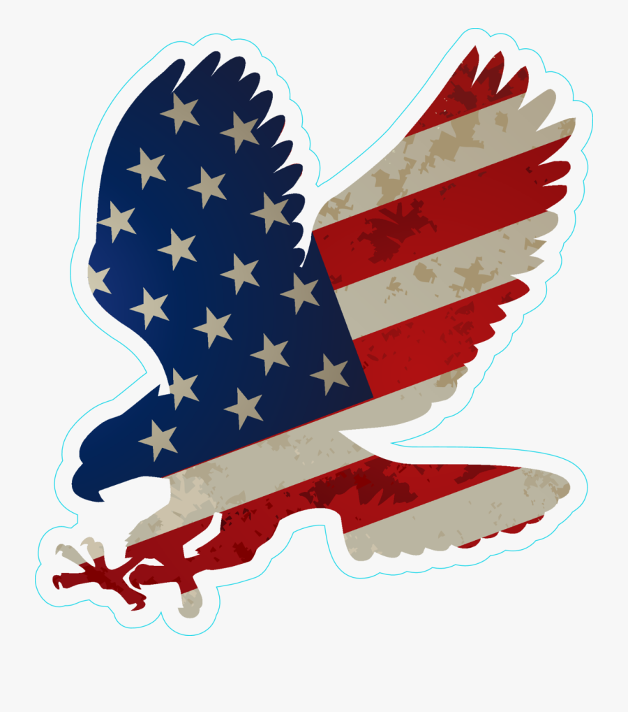 Eagle With Us Flag On Wings Sticker Bumper Sticker - Eagle Clipart American Flag, Transparent Clipart
