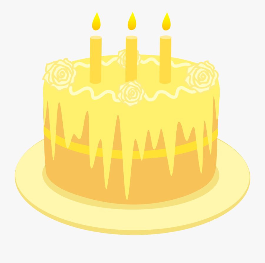 Lemon Birthday Cake With Candles - Yellow Birthday Cake Candles, Transparent Clipart