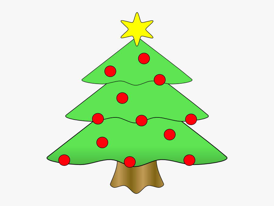 Christmas Tree With Baubles Cartoon, Transparent Clipart