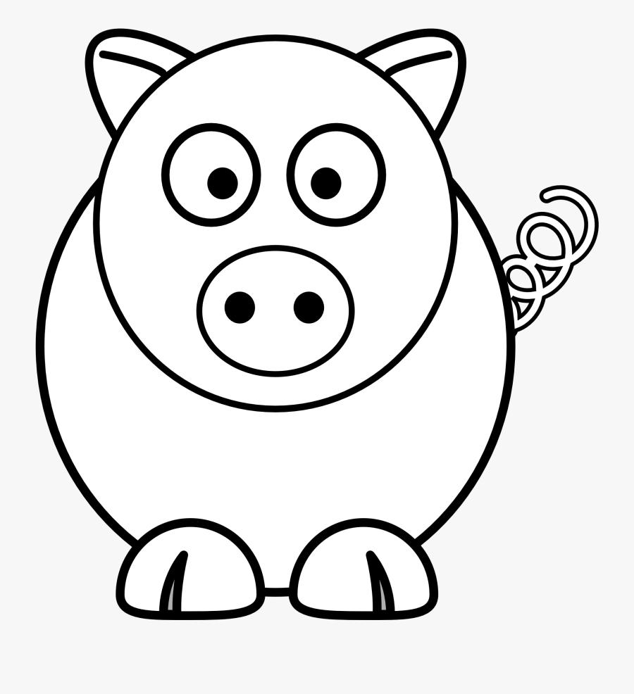 Transparent Pig Clipart - Simple Pig Coloring Page, Transparent Clipart