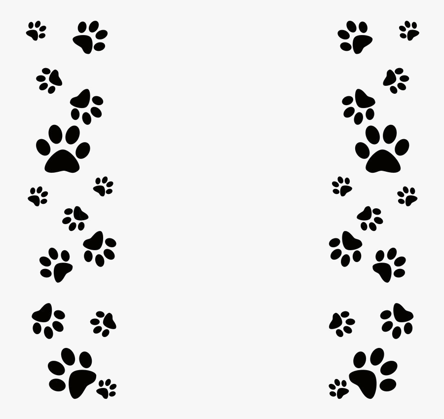 Paw Print Clip Art Dog Powerpoint Template Transparent - Dog Paw Prints Border, Transparent Clipart