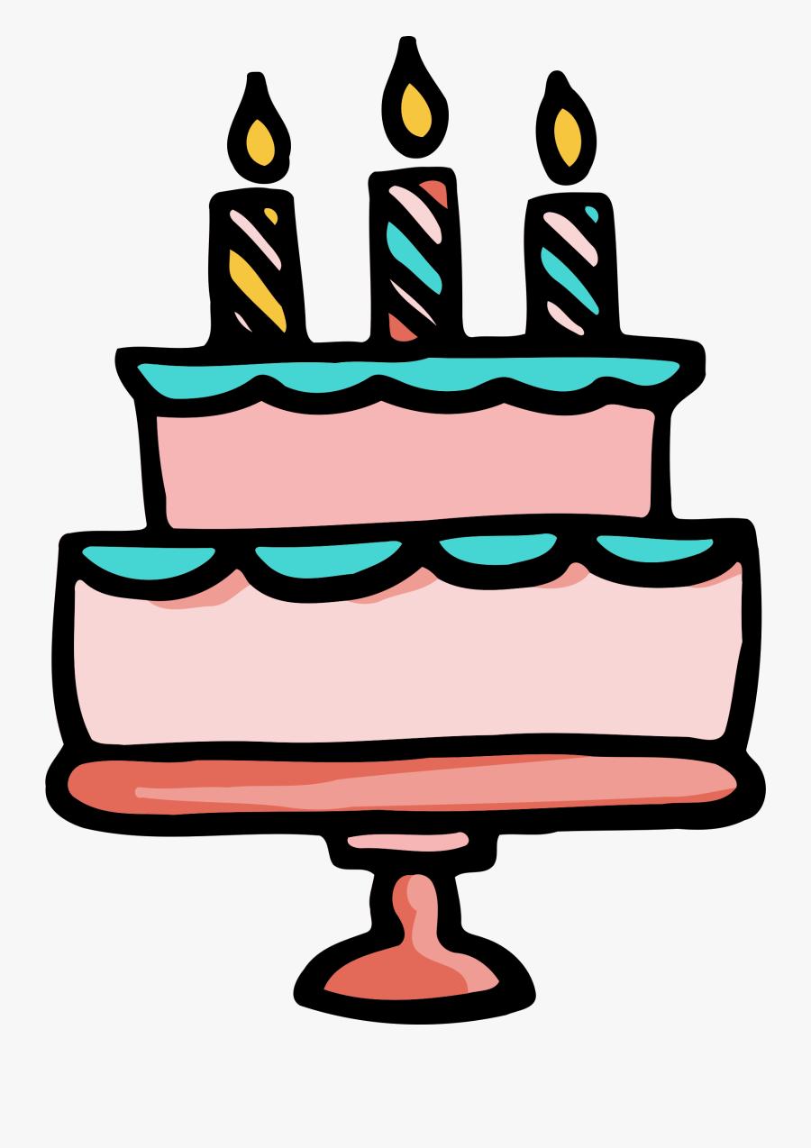 Birthday Cake - Transparent Background Cute Birthday Cake Clipart, Transparent Clipart