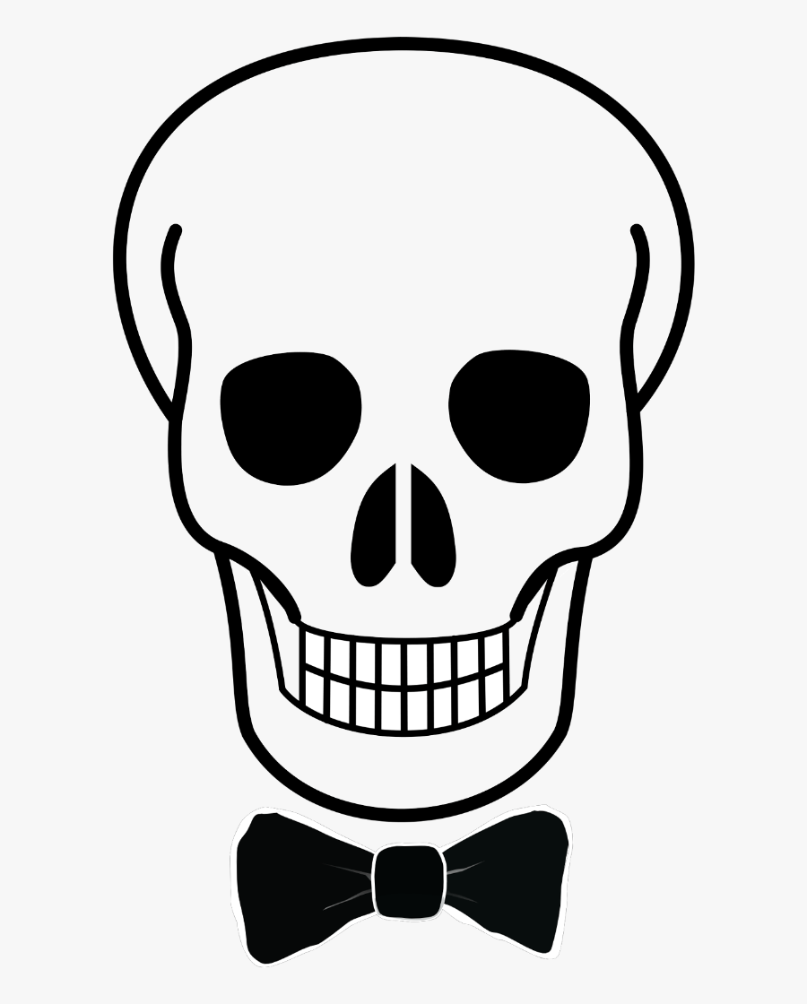 Transparent Sugar Skull Clipart Black And White - Easy Skeleton Head Drawing, Transparent Clipart