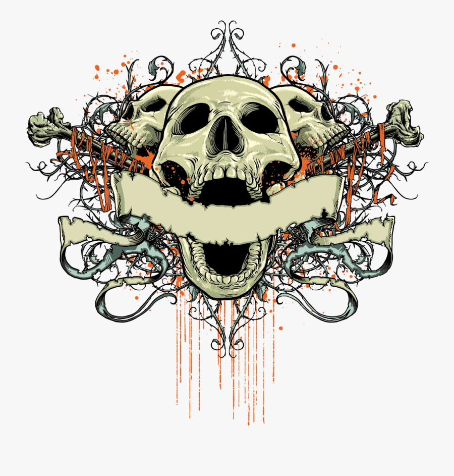 T-shirt Element Design Skull Fashionable Free Clipart - Skull T Shirt Design Png, Transparent Clipart