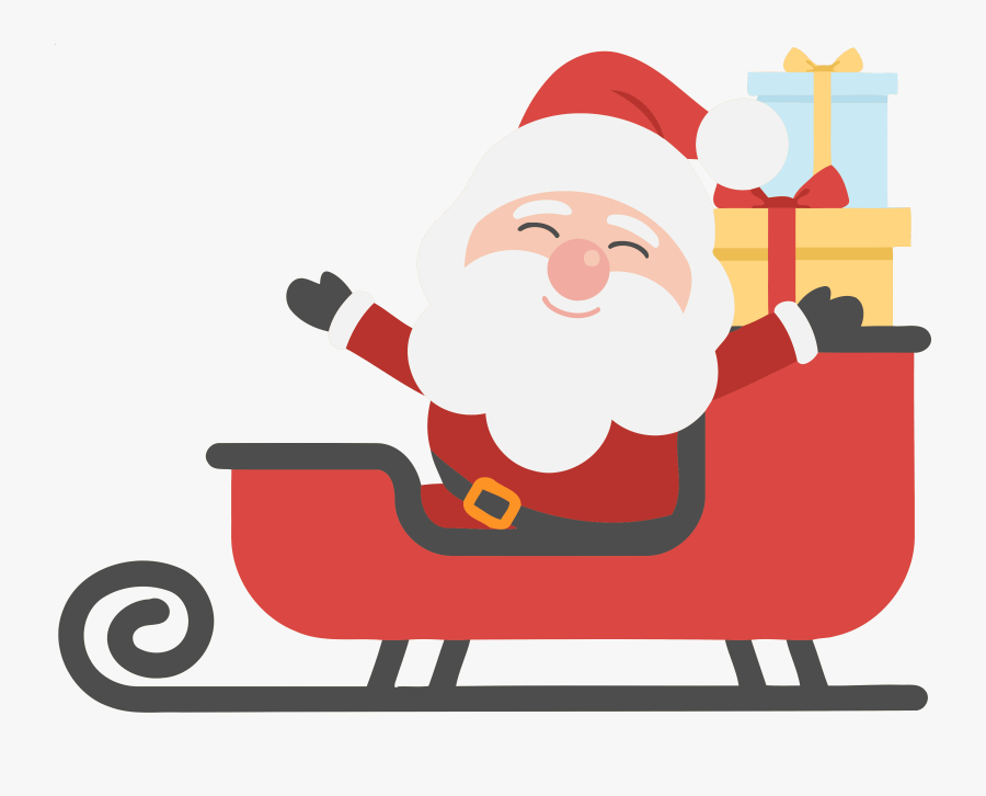 Claus Day Holiday Gift - Santa On Sleigh Clipart, Transparent Clipart