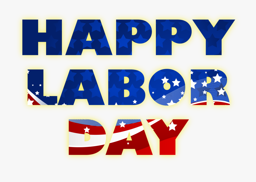Happy Labor Day American Flag Text Clipart - 1st May 2019 Labour Day, Transparent Clipart
