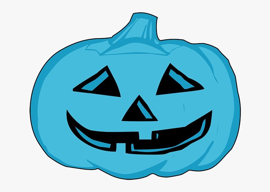 Blue Pumpkin Head For Halloween - Halloween Pumpkin Clipart Black And White, Transparent Clipart