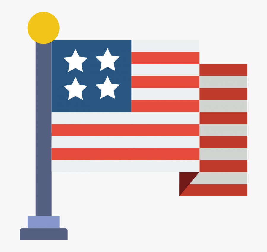 Transparent American Flag Clipart Png - Flag Usa Flat Icon, Transparent Clipart
