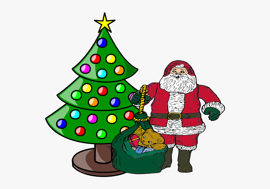 With Claus Clip Art - Santa With A Christmas Tree Png, Transparent Clipart