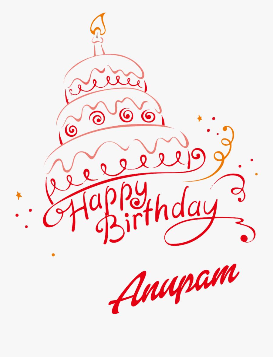 Happy Birthday Anjali Cake, Transparent Clipart