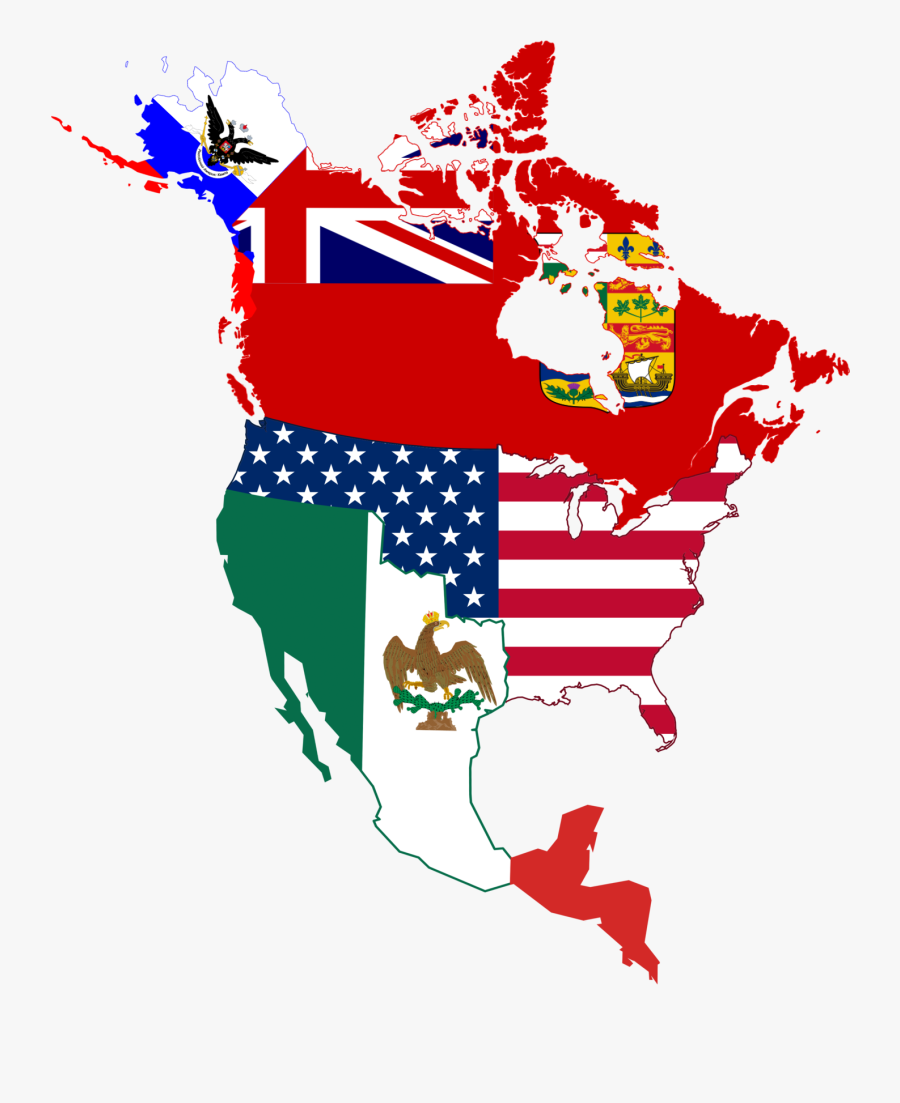 History Clipart American Flag - Flag Map Of North America, Transparent Clipart