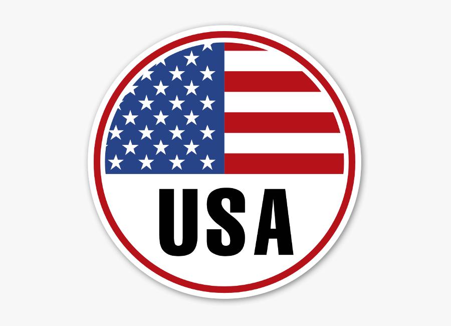 Usa Round Flag Sticker - Usa Round Flag, Transparent Clipart