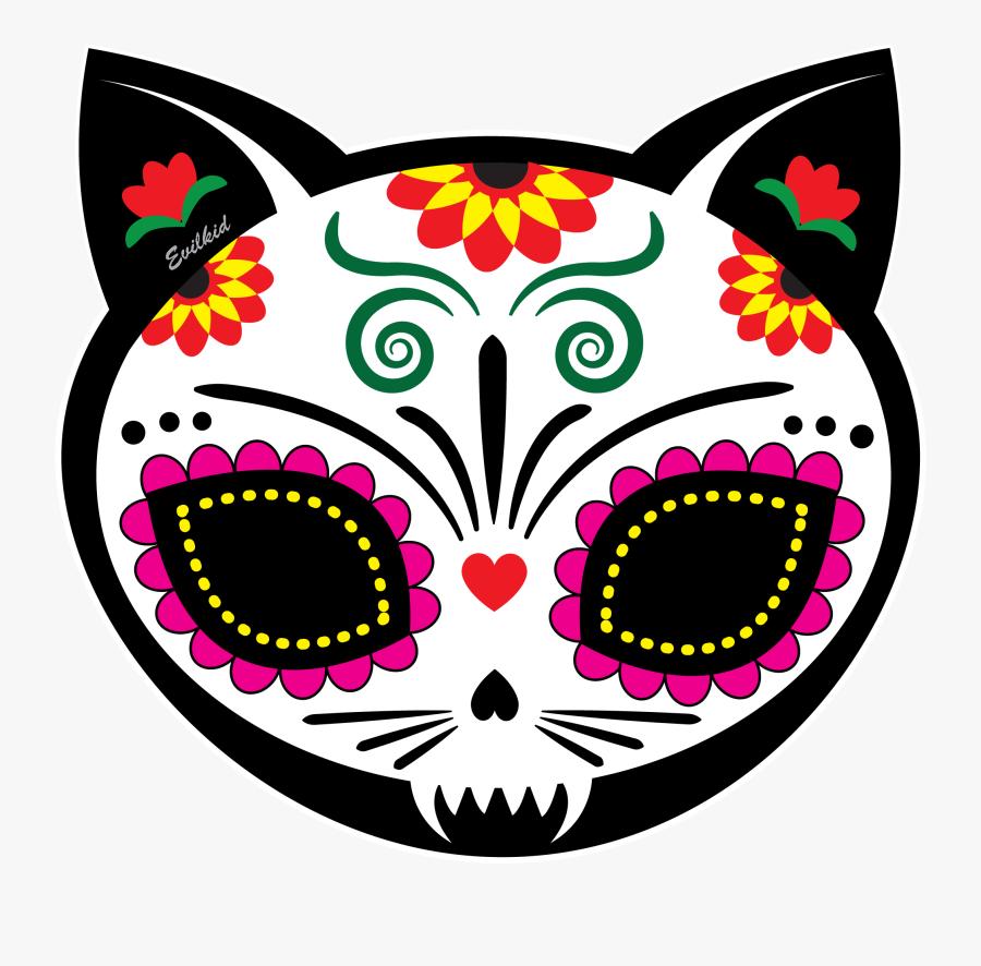 Cat Skull Clipart - Day Of The Dead Cat Skulls, Transparent Clipart