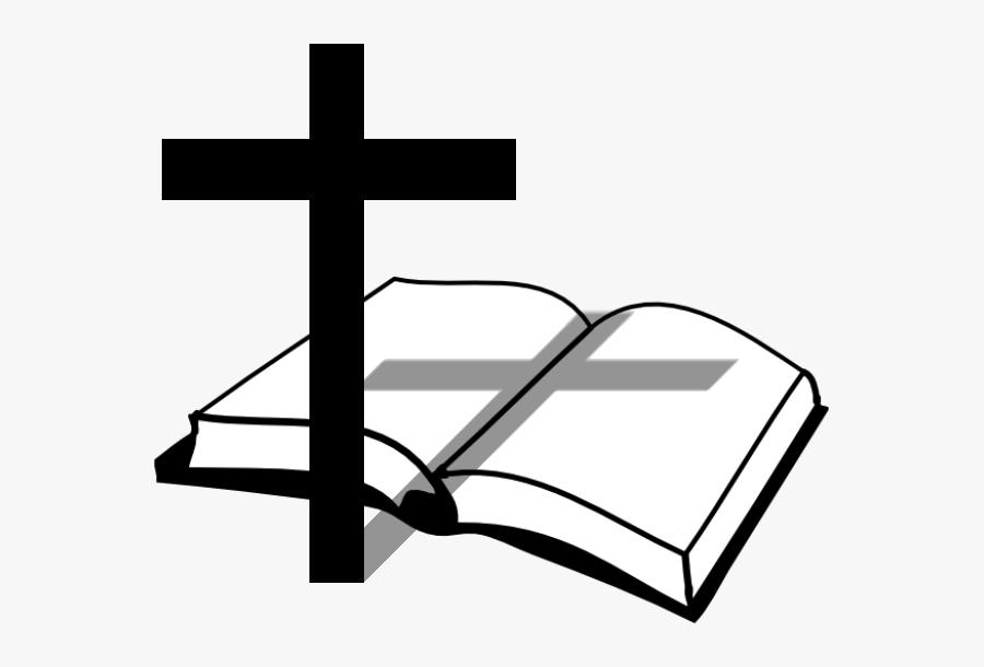 Cross And Bible Clip Art - Black Cross And Bible, Transparent Clipart