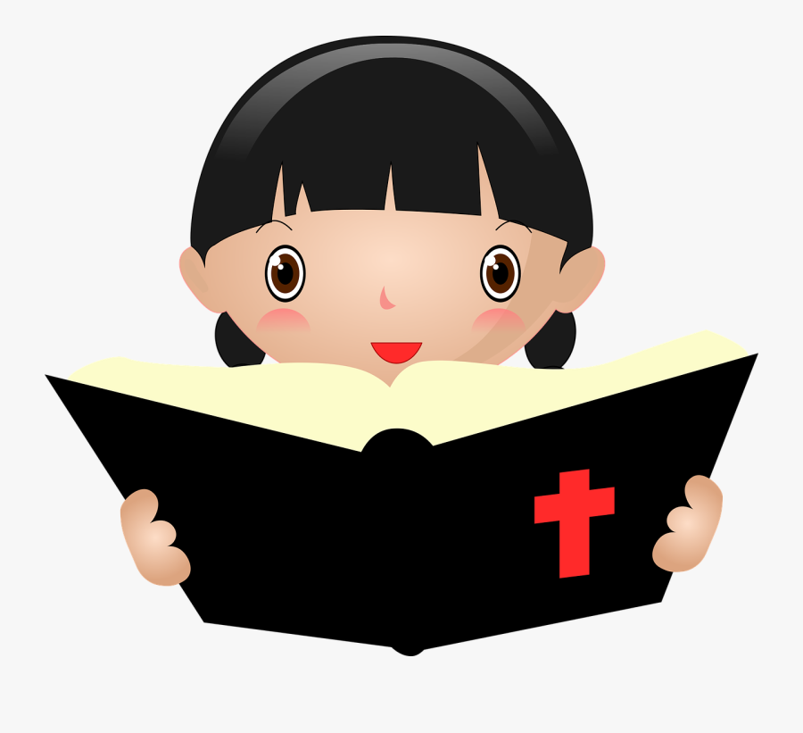 Fictional Character,smile,reading - Girl Reading Bible Clipart, Transparent Clipart