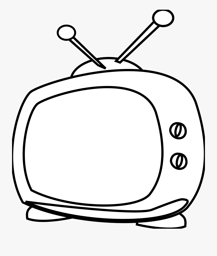 Watching Tv Clipart Black And White Free Clipart - Tv Cartoon Black And White, Transparent Clipart