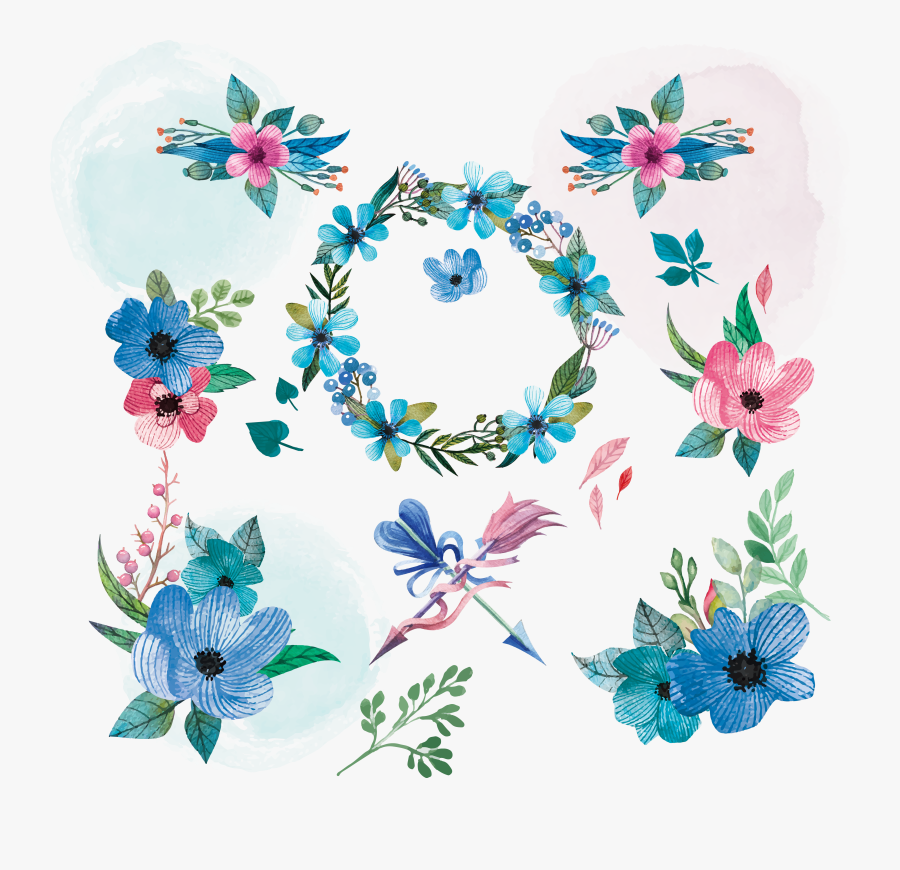 Transparent Teal Flower Clipart - Blue Watercolor Flower Elements Vector Free, Transparent Clipart