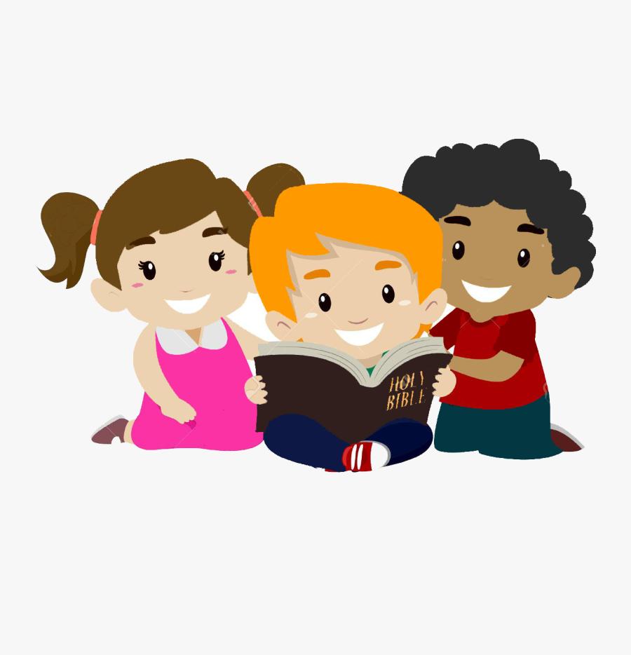 55395845 Vector Illustration Of Children Reading Bible - Kids Bible Cartoon, Transparent Clipart
