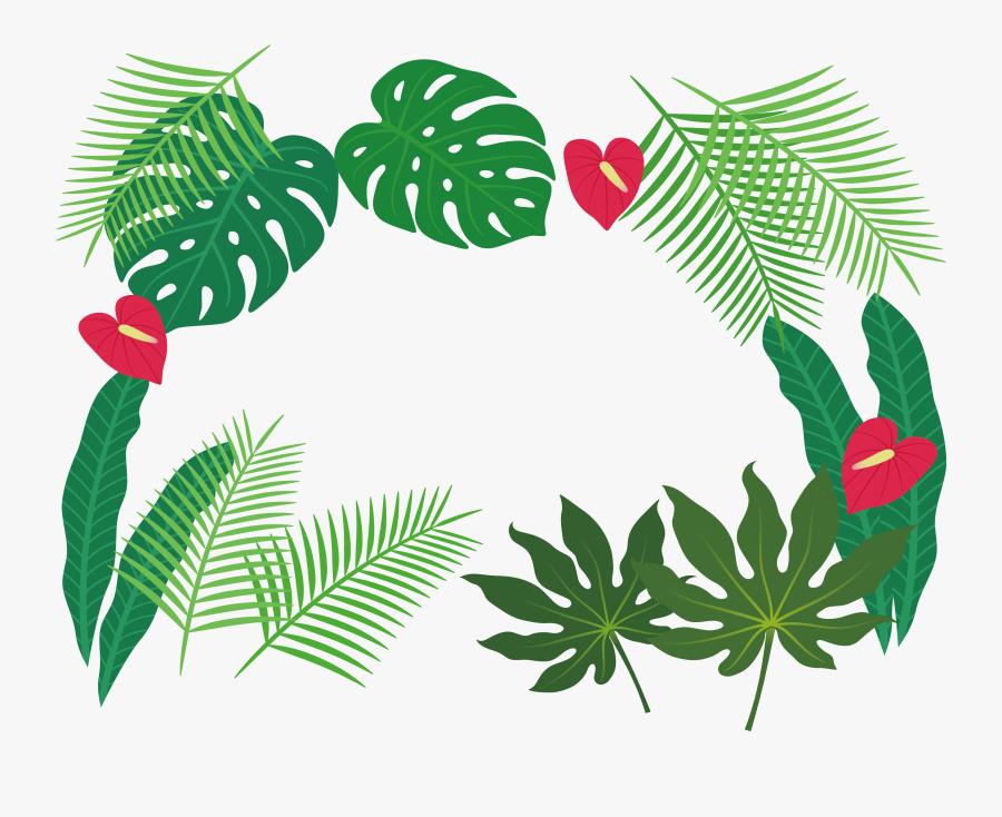 Clip Art Plant Leaves Clipart - Tropical Plants Clipart Png, Transparent Clipart