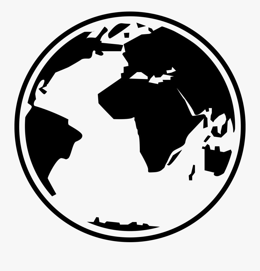 Globe Black And White Free Globe Clipart Black And - Globe Clipart Black And White Simple, Transparent Clipart