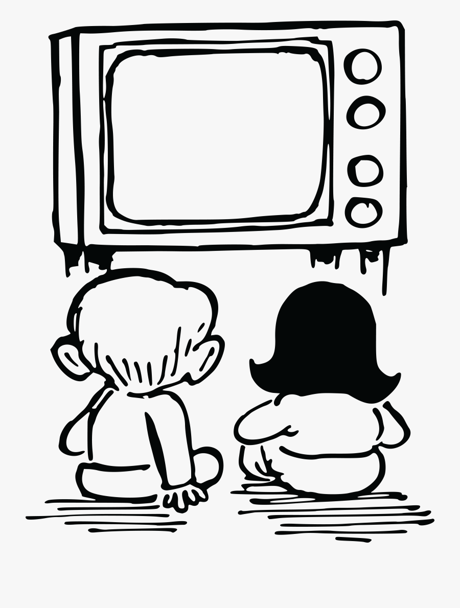 Free Clipart Of Kids Watching - Watching Tv Black And White, Transparent Clipart