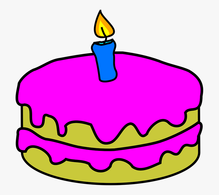 Vanilla Cake Cliparts 10, Buy Clip Art - Birthday Cake One Candle, Transparent Clipart