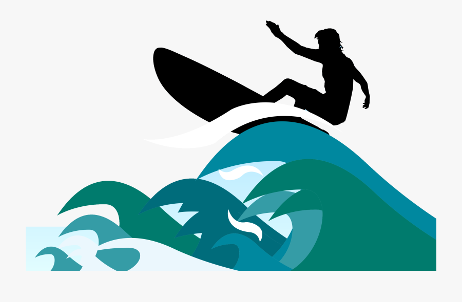 Surfing Clipart - Surfboard On Wave Clipart, Transparent Clipart