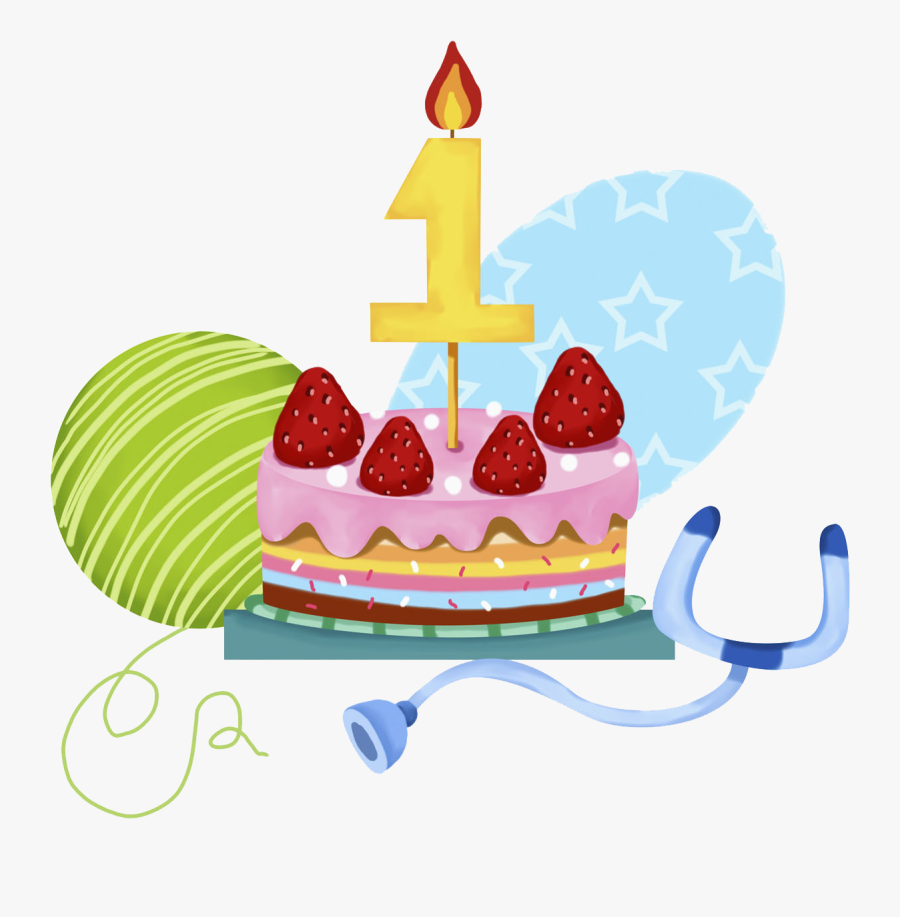 Birthday Cake Strawberry Cream Cake Clip Art - 1 Year Old Cake Png, Transparent Clipart