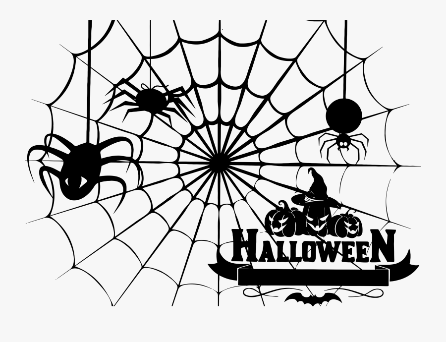 Halloween Spider Clipart - Spider Web Png Halloween, Transparent Clipart