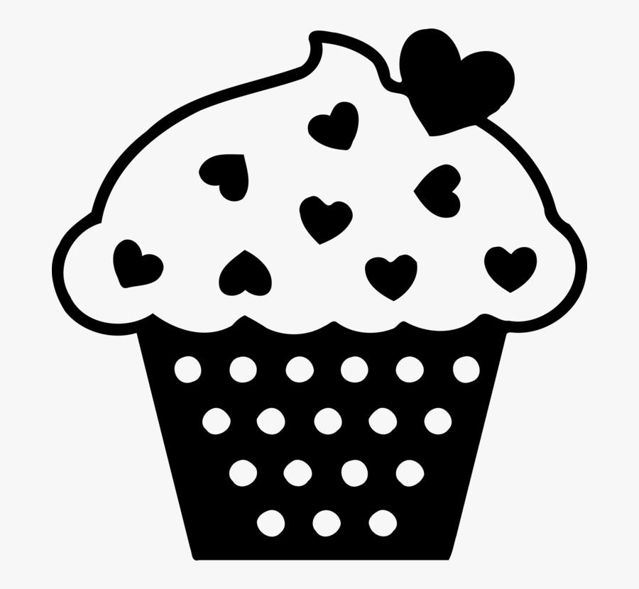 Transparent Birthday Cake Clip Art Png - Heart Cupcake Black And White Clipart, Transparent Clipart