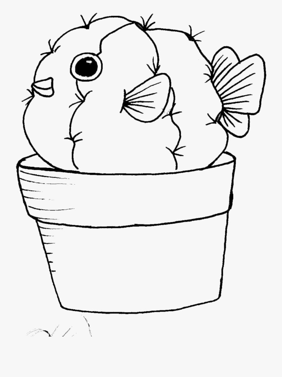 Cactus Cartoon Drawing At Getdrawings - Puffer Fish Drawing, Transparent Clipart