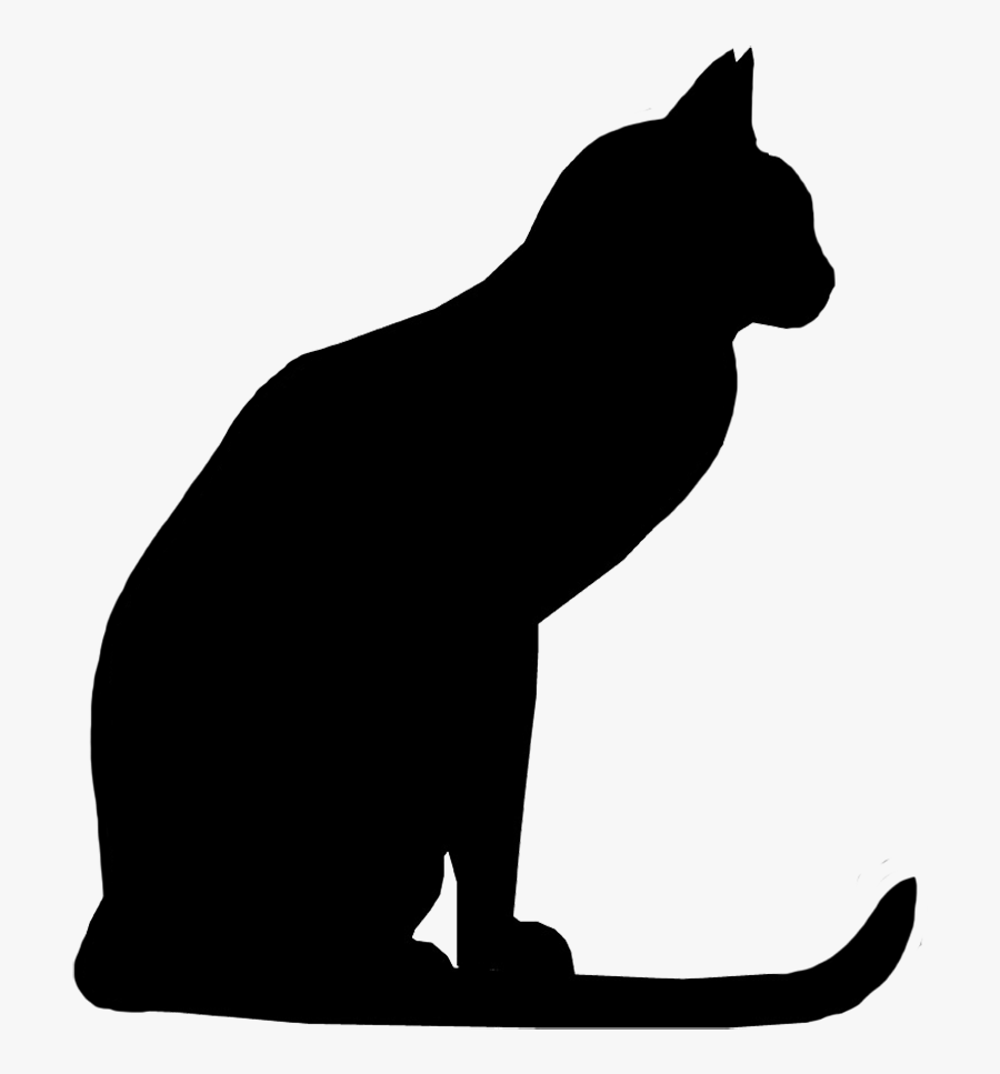 Cat With Long Tail Silhouette - Silhouette Cat Clipart Black And White, Transparent Clipart
