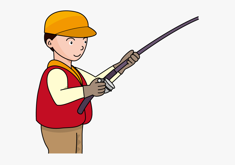 Clipart Fisherman With Rod, Transparent Clipart
