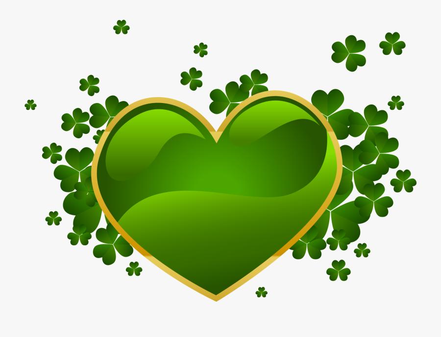 St Patrick's Day Heart, Transparent Clipart