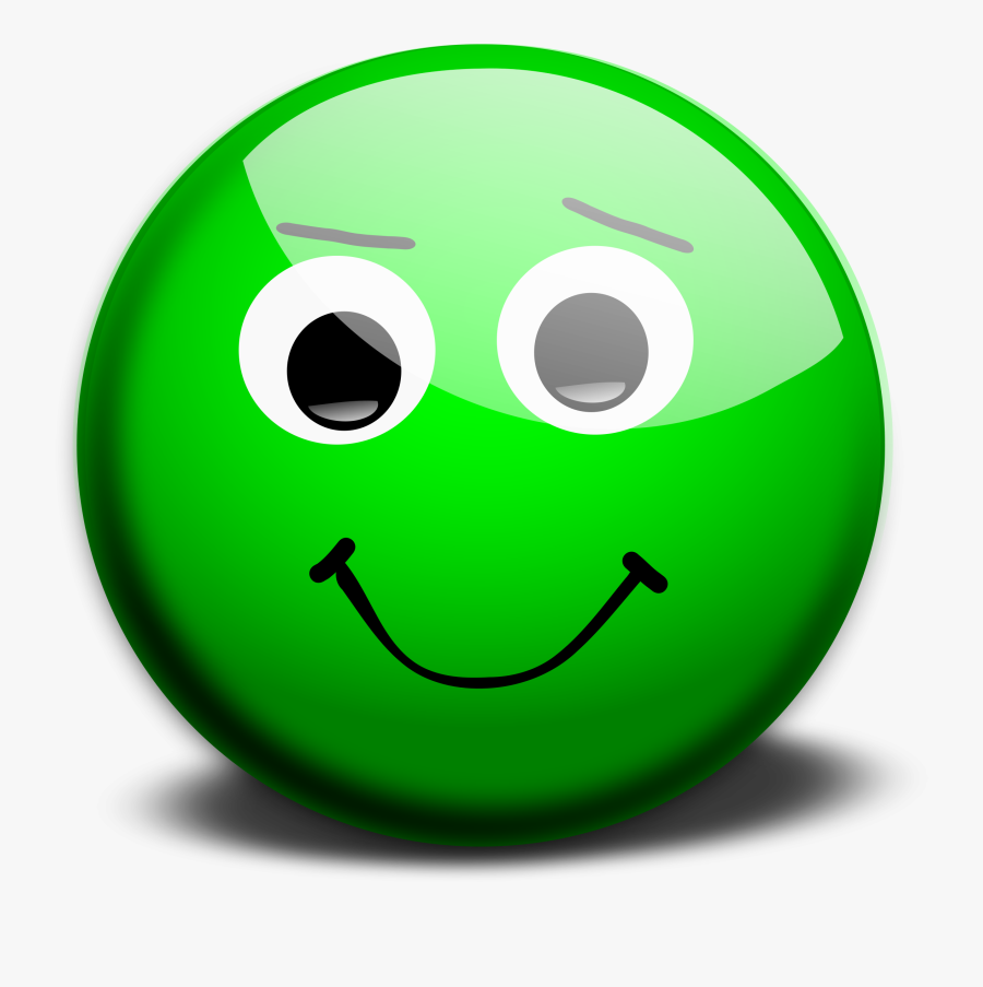 Happy Face - Green Smiley Face Emoji, Transparent Clipart