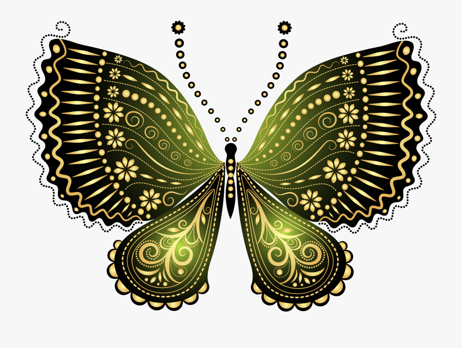 Beautiful Green Decorative Butterfly Png Clipart Image - Black And Gold Butterflies, Transparent Clipart