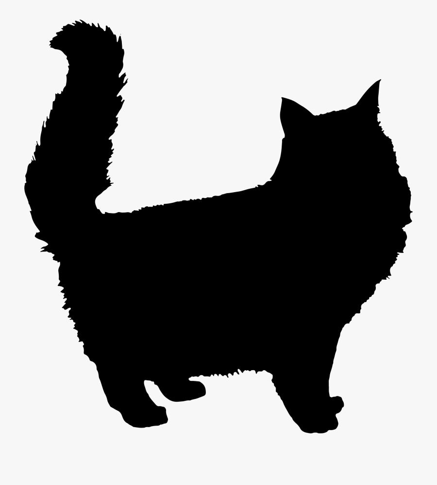 Fluffy Cat Silhouette, Transparent Clipart