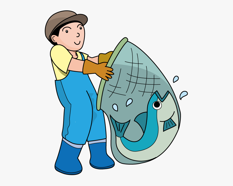 Fisherman With Net Clipart, Transparent Clipart