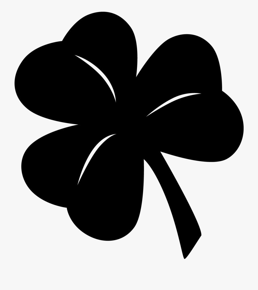Black Clipart Clover - Black Shamrock Transparent Background, Transparent Clipart