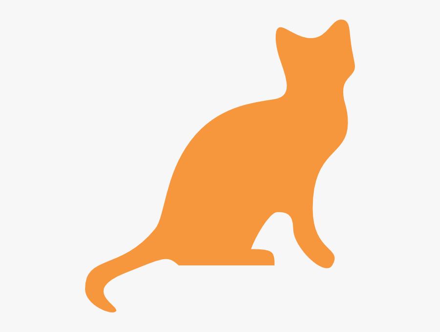 Orange Cat Silhouette Clip Art - Cat Silhouette Transparent Background, Transparent Clipart