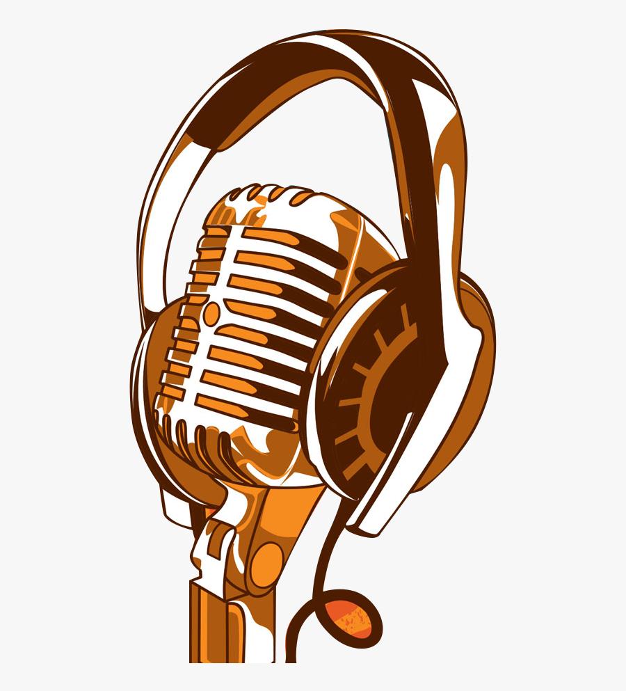 Headphones Clipart Microphone Clipart - Microphone And Headphones Clipart, Transparent Clipart