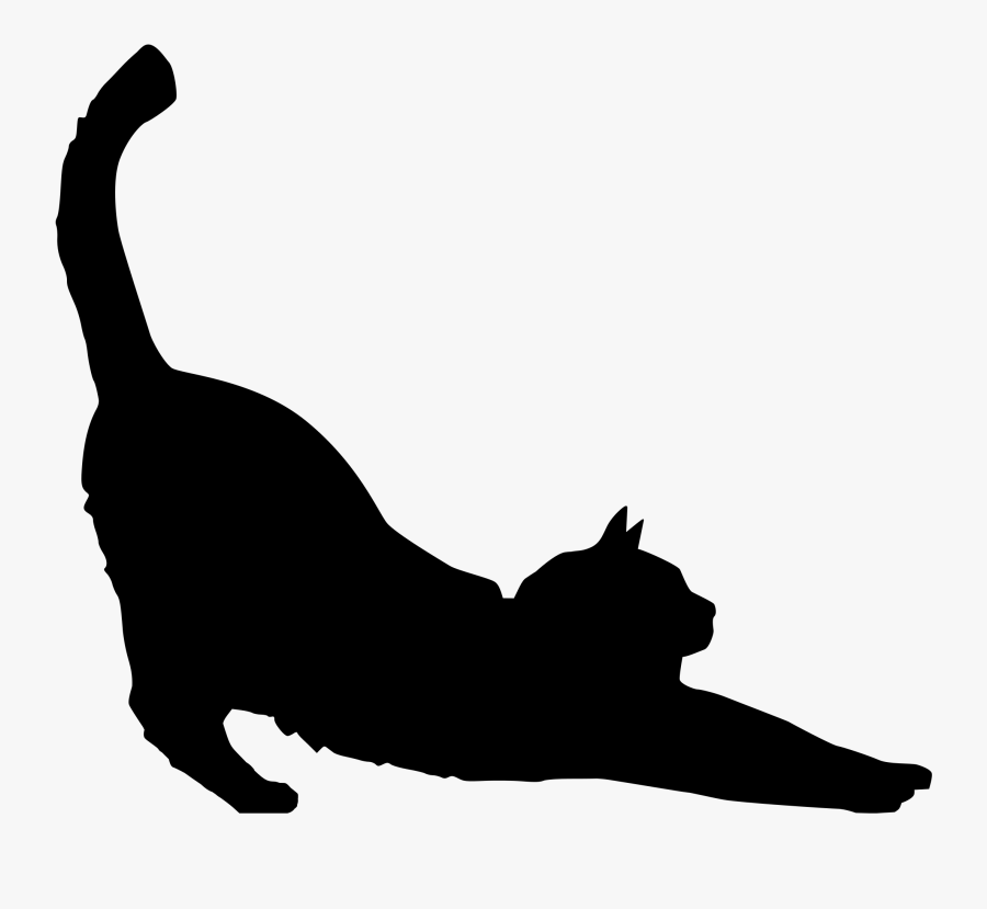Black Cat Clipart Silhouette Kitten Clip Art Vector - Stretching Cat Silhouette, Transparent Clipart