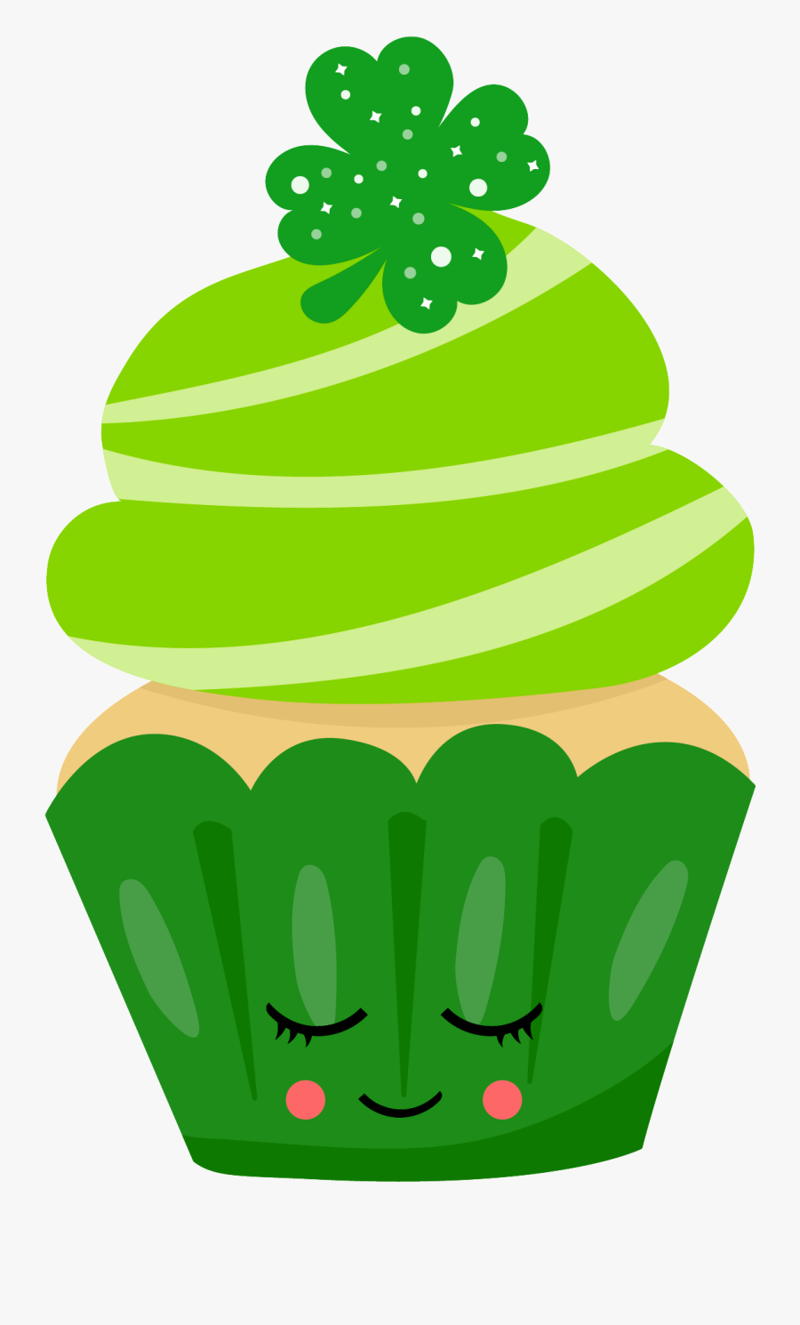 Shamrock Clipart Cupcake - Cute Happy St Patrick's Day Gif, Transparent Clipart