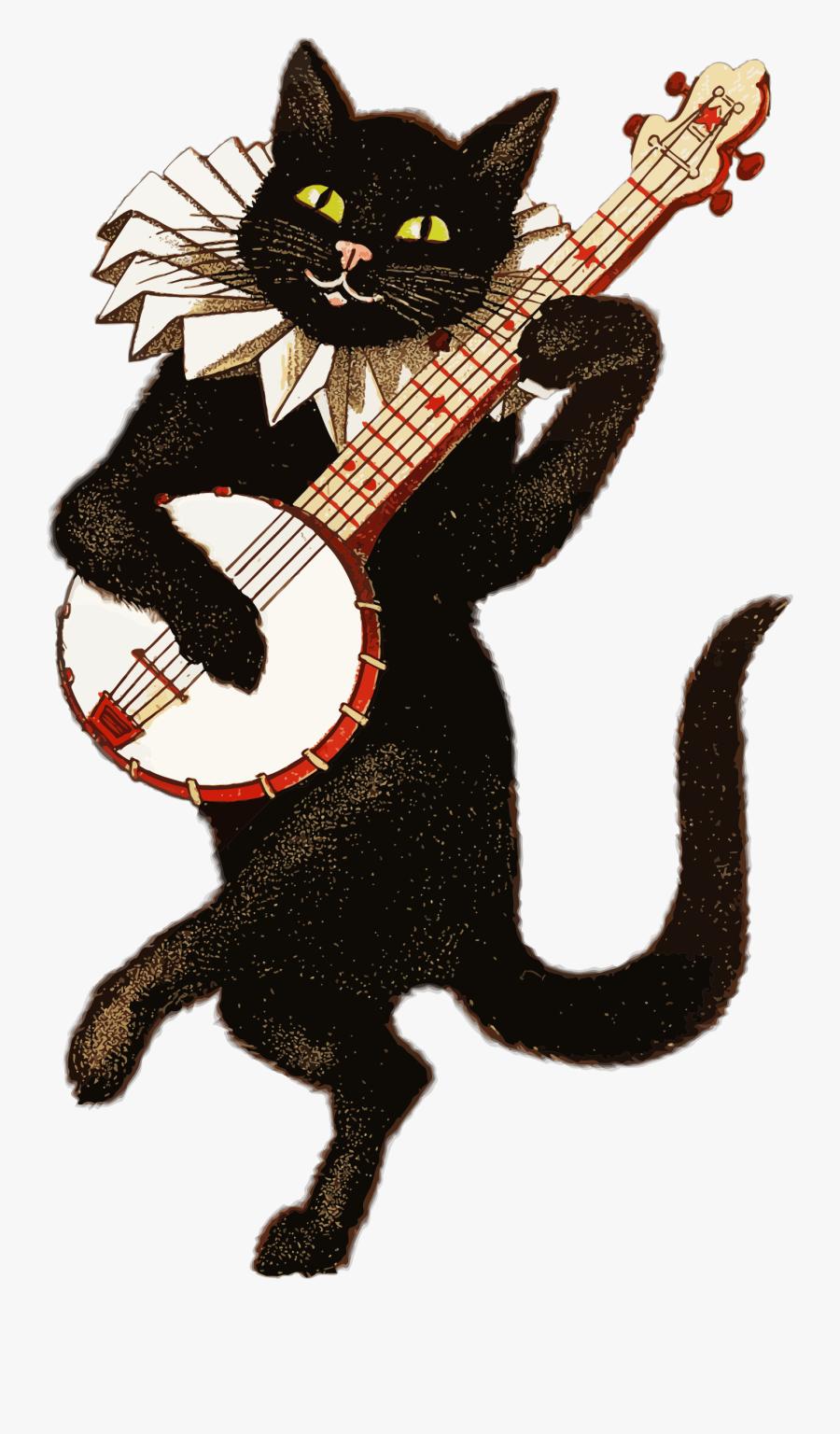 Vintage Cat Playing Banjo Transparent Png - Cat Playing Banjo, Transparent Clipart