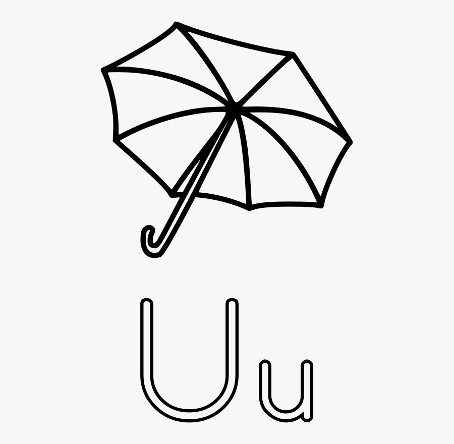 U Is For Umbrella - U Is For Coloring Page, Transparent Clipart
