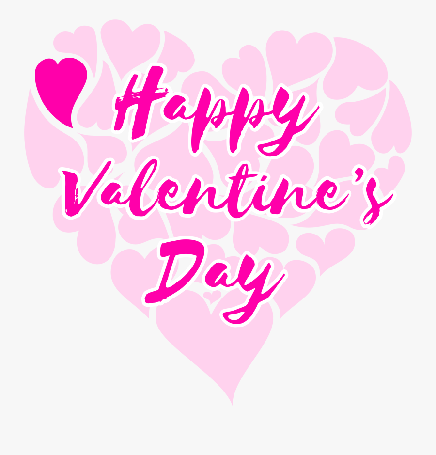 Clipart Happy Valentine 039 S Day Title With Hearts - Happy Valentines Day With Hearts, Transparent Clipart