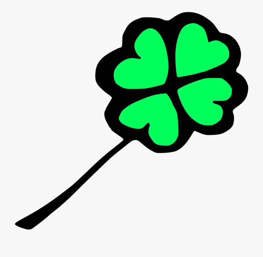 Celtic Shamrock Clipart - Long Cartoon Four Leaf Clover, Transparent Clipart