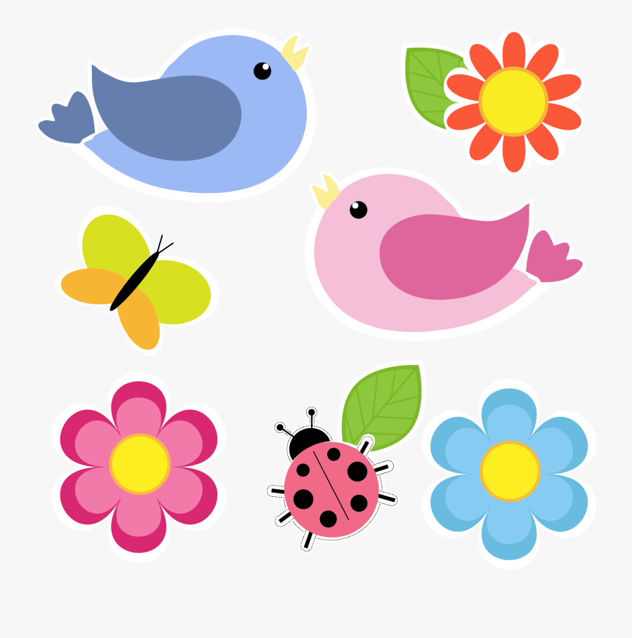 Birds Butterfly Ladybug And Flowers No Background By - Butterfly Flower Clip Art, Transparent Clipart